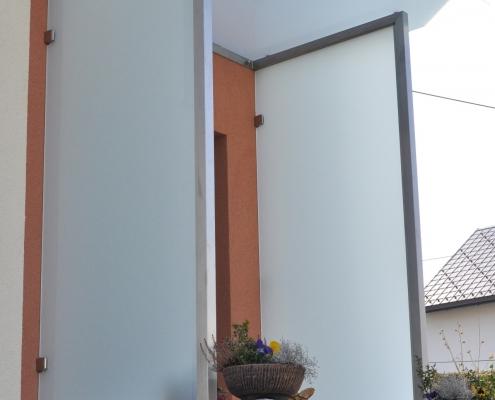 Eingangsüberdachung Edelstahl Glas