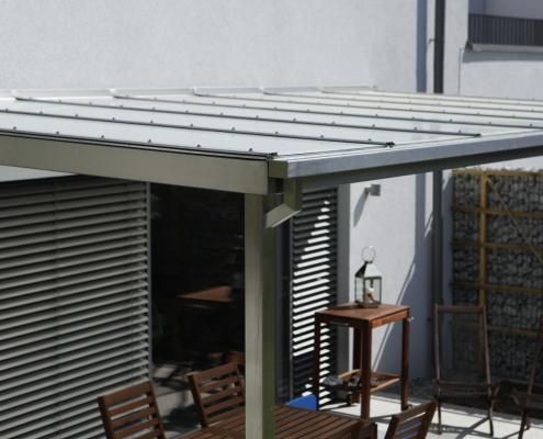 Terrassenüberdachung Edelstahl mit Glasdach
