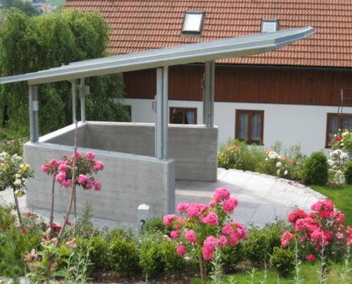 Pavillon feuerverzinkt mit Dach aus 3-Schichtplatten