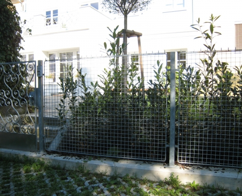 Zaun aus verzinktem Krippgitter und Gartentür aus geschmiedeten feuerverzinkten Ornamenten