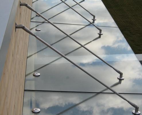 Vordach Glas Edelstahl